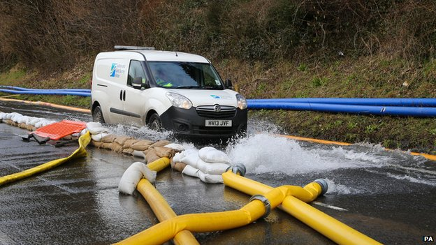 Water is pumped away from the Kenley Water Treatment works in Croydon on 9 February