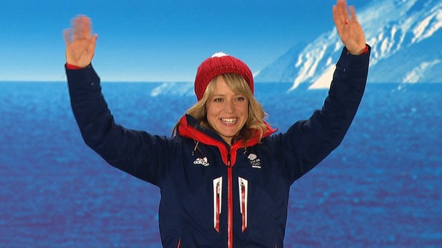 Great Britain's Jenny Jones receives slopestyle bronze medal