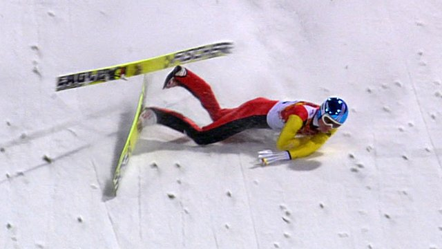 Germany's Severin Freund crashes in the first round of the men's normal hill ski jump