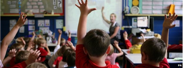 Children put up their hands in a school classroom