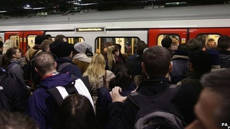 Passengers during the Tube strike