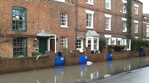 Flooded road at Abbey Terrace, Tewkesbury