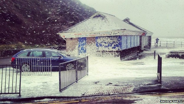 Sea foam in Caswell Bay, Swansea