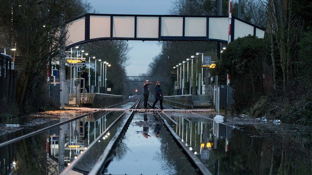 Datchet railway station flooding