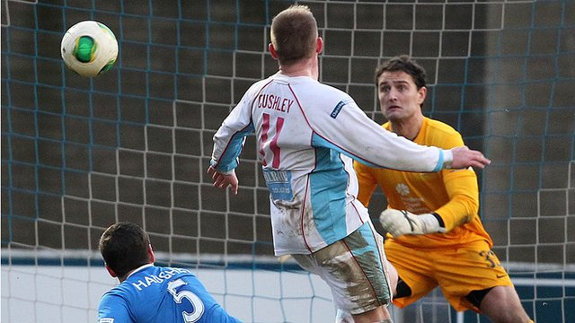 Ballymena United's David Cushley scores the winner against Linfield
