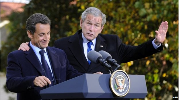 French President Nicolas Sarkozy with US President George W Bush, during a working visit to the US in 2007
