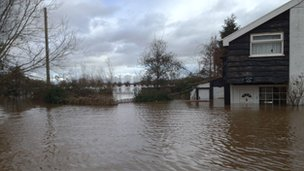 Flooding in East Lyng, Somerset