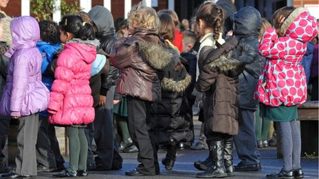 A line of children in a primary school playground