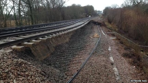 Landslip between Wadhurst and Battle in East Sussex