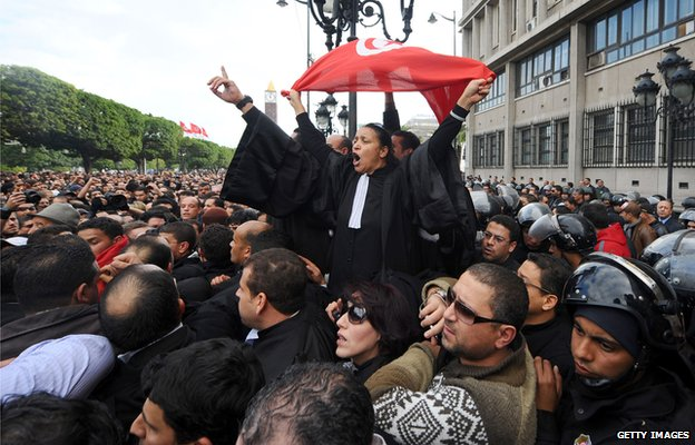 Demonstrators in Tunisia