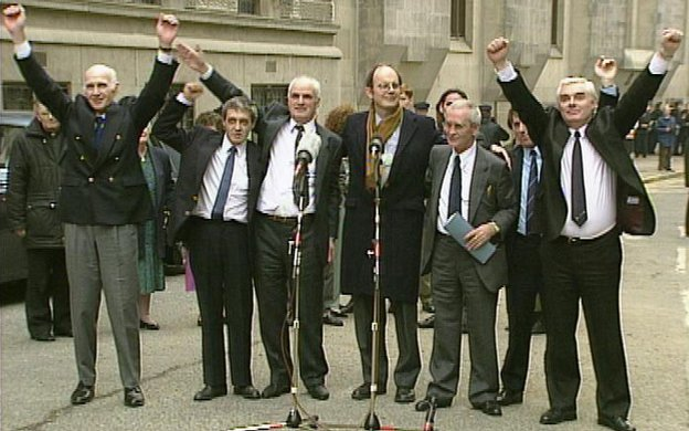 The Birmingham Six celebrate their release outside the Old Bailey