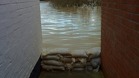 Sandbags in Fletchers Alley , Tewkesbury