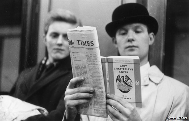 A commuter reads Lady Chatterley's Lover