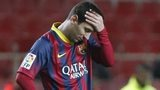 Barcelona's Lionel Messi reacts during their La Liga match against Sevilla