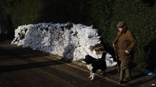 Sandbags stacked up in Burrowbridge, Somerset