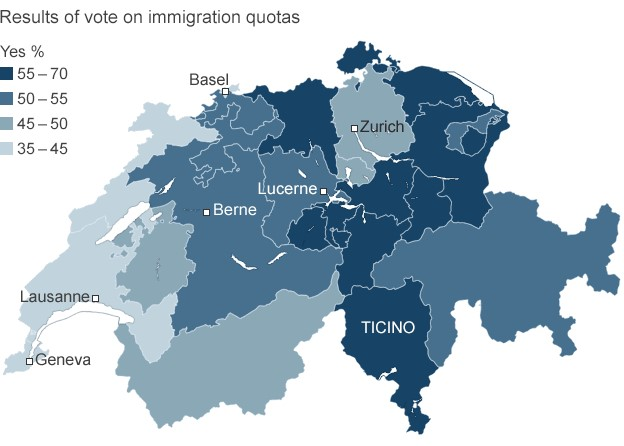 Swiss nervous after vote to limit EU migrants