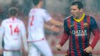 Barcelona's Argentine forward Lionel Messi celebrates after scoring  a goal