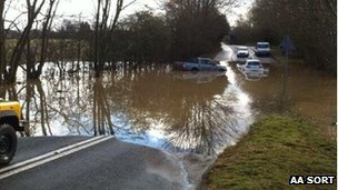 Vehicles in flood water in Hertfordshire