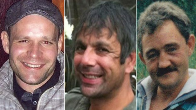 The bodies of (l to r) Lukasz Slaboszewski, Kevin Lee and John Chapman were found in Cambridgeshire