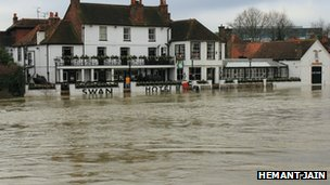Flooded hotel, Staines-upon-Thames