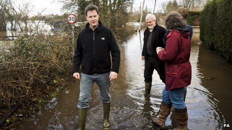 Nick Clegg visits a flood village in Somerset