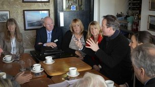 The Prime Minister meeting people who live near Chesil Beach