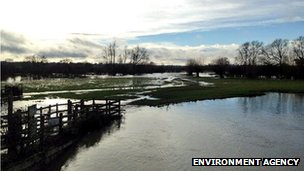 The flooded River Stour in Suffolk