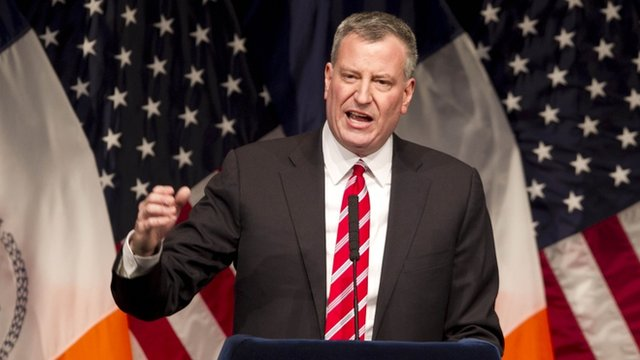 "Mayor Bill de Blasio called the income gap ""a threat to every New Yorker"" in a 10 February speech"