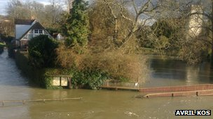 The flooded River Thames in Goring-on-Thames, Oxfordshire
