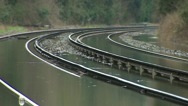 Flooded railway lines