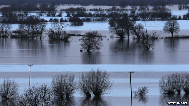 Flooded fields at Burrow Mump, at Burrowbridge, on the Somerset Levels