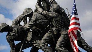 The Iwo Jima Memorial in Arlington, Virginia