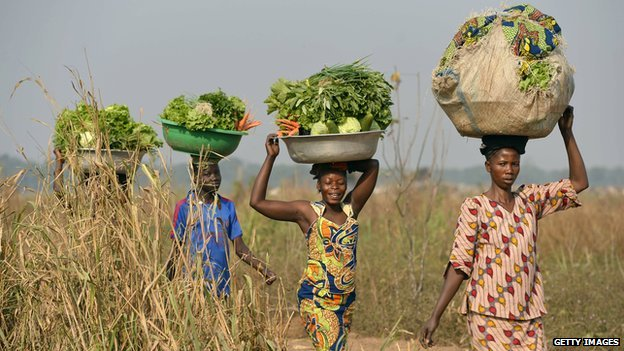 Women come back from the fields to sell vegetables at a market near the internally displacement camp close to the airport in Bangui on January 7, 2014.