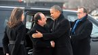 French President Francois Hollande shakes hands with Barack Obama in Washington, DC.