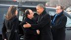 French President Francois Hollande shakes hands with Barack Obama in Washington, DC.