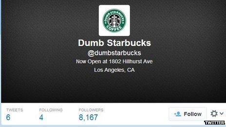 """""""Dumb Starbucks"""" Twitter page"""