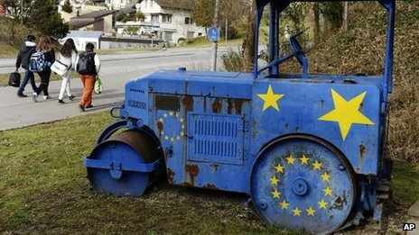 Roller painted with EU flag