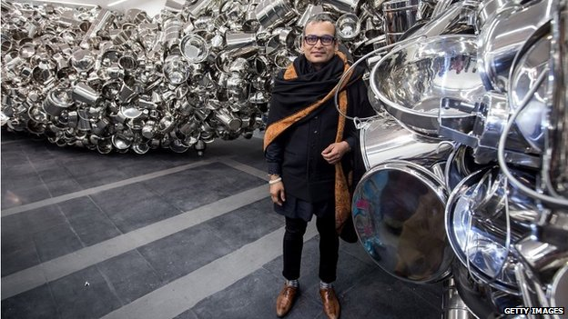 Subodh Gupta at his latest exhibition in Delhi