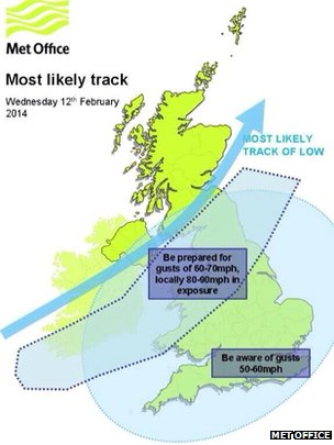 UK map depicting tomorrow's wind track