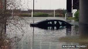 Submerged car in Staines. Photo: Kaushal Trivedi