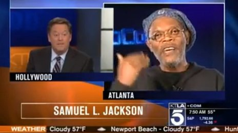 Samuel L Jackson being interviewed on KTLA