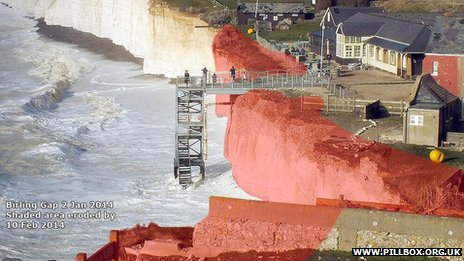 Estimate of cliff erosion at Birling Gap so far this year