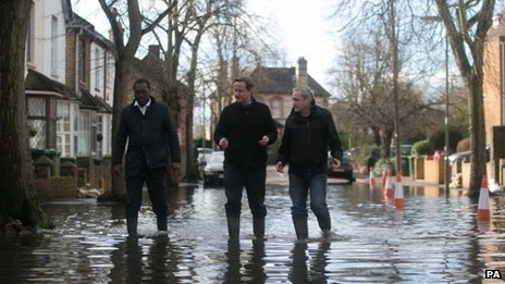 David Cameron inspects flooded streets in the Berkshire village of Wraysbury