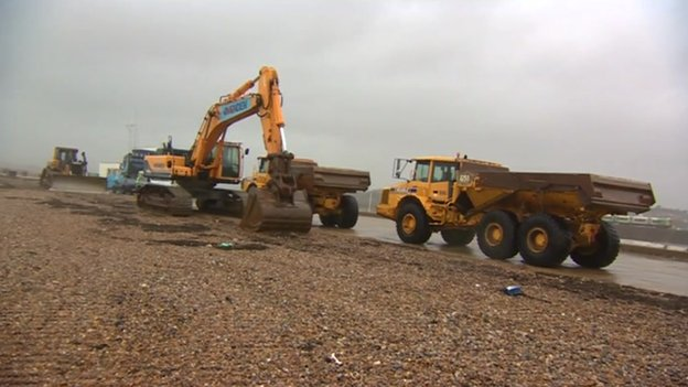 Contractors on Seaford Beach