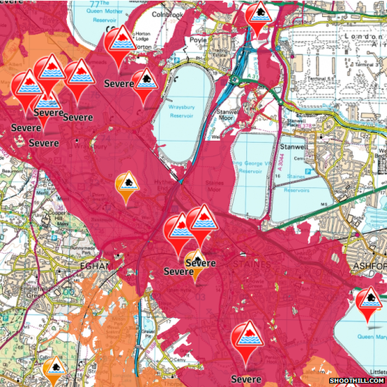 Map showing flood warnings in Surrey and Berkshire