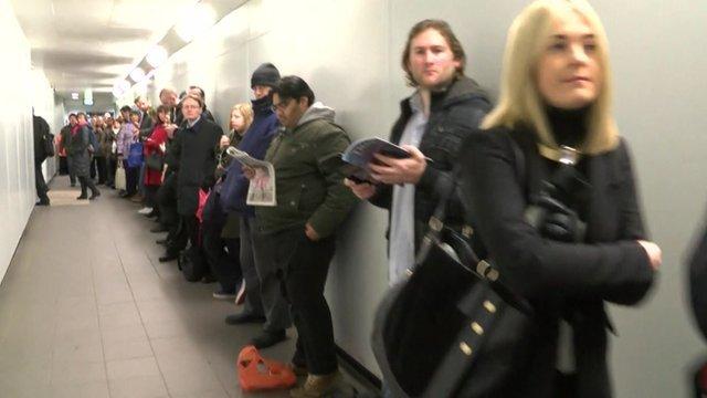 Passengers queuing at Maidenhead railway station