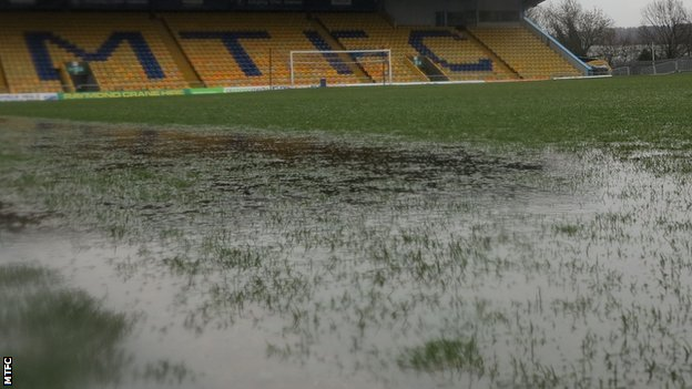 Mansfield Town's waterlogged pitch