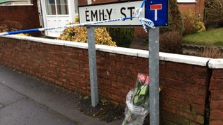 Flowers left in Emily Street, Blackburn