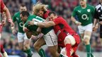 Dave Kearney tries to escape the clutches of Richard Hibbard and Sam Warburton
