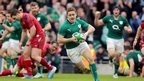 Paddy Jackson prepares to touch down for Ireland's second try during the second half in Dublin